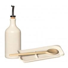 Подарочный набор Emile Henry: Бутылка для масла и подставка под ложку (крем)